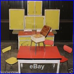 Rare CUISINE FORMICA 1950 billot à roti marbre patisserie jonc alu table chaise
