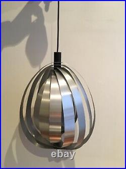 Rare Élégante Suspension Moon 1960 Vintage Verner Panton Acier Brosse Space Age
