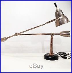 Rare Lampe à balancier Edouard Wilfrid BUQUET EB 27 SGDG Bauhaus Table Lamp 1930