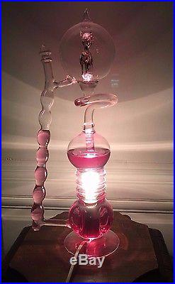 Rare Lampe française Bulle vintage à Ebullition en Verre Soufflé