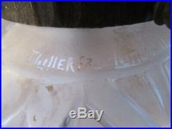 Rare Lustre fer forgé brandt 1930 Art déco 3 tulipes 2 globes Muller Fréres