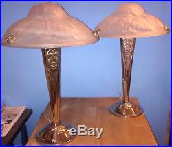 Rare PAIRE 2 lampes verre Degué ART DECO bronze lamp like muller