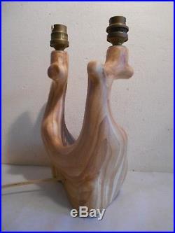 Rare Pied Lampe Vintage Design Grandjean Jourdan Céramique Faux Bois Vallauris