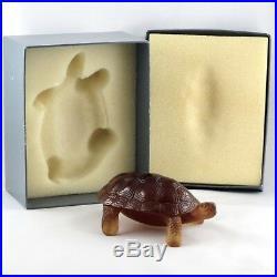Rare Sujet TORTUE Ambre, Pâte de Verre DAUM FRANCE glass turtle/lalique/gallé