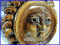 Rare et énorme vase en céramique Georges JOUVE Émaillage marron Décor de soleil