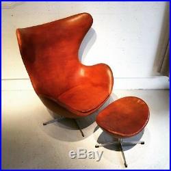 Rare fauteuil Egg chair d'Arne Jacobsen 1e édition 1960 Fritz Hansen cuir