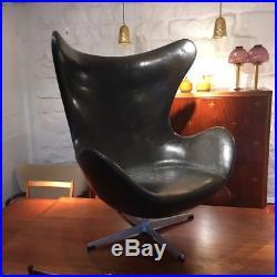Rare fauteuil Egg chair d'Arne Jacobsen 1e édition début 60 Fritz Hansen cuir