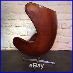 Rare fauteuil Egg d'Arne Jacobsen édition Fritz Hansen circa 1960 cuir cognac