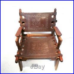Rare fauteuil d'Angel Pazmino Equateur 1960 teck et cuir pour Muebles de Estilo
