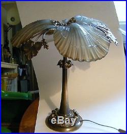 Rare imposante lampe Palmier Bronze Verre Maison Charles Jansen Petitot art deco