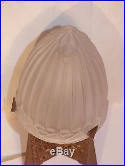 + Rare lampe champignon art déco pied signé Lacroix +