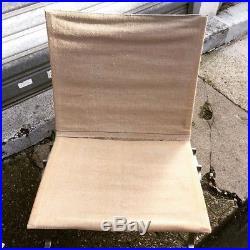 Rare paire de fauteuils PK22 Poul Kjaerholm 1e édition Kold Christensen en lin