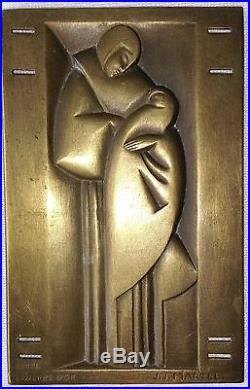 Rare plaque en laiton Art Déco signée J. J. MARTEL édité par la gerbe d'or Paris