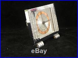 Reveil de voyage horloge pendule art deco moderniste etui 1930-1940 JAZ France