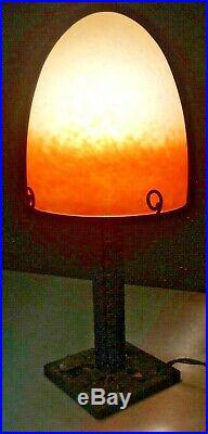 SCHNEIDER, Lampe art nouveau art deco, fer forgé, daum, gallé, muller, charder