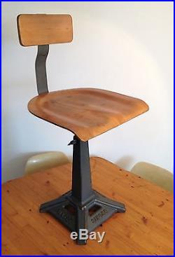 SINGER Tabouret/Chaise d'atelier industriel Eiffel Bois/Métal/Usine 1930