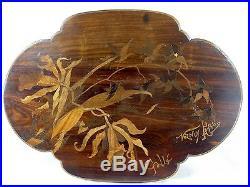 Spl. Plateau Table Marqueterie Orchidee Emile Galle Nancy Art Nouveau 1900 Vase