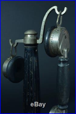 SUPERBE ANCIEN TELEPHONE Bougie COLONNE EN BOIS CHERONNET PHONE art deco 1920