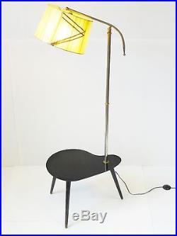 SUPERBE LAMPADAIRE TABLETTE ROGNON PALETTE TRIPODE 1950 VINTAGE 50's FLOOR LAMP