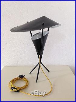 SUPERBE Lampe Tripode Vintage NOIRE An 50's