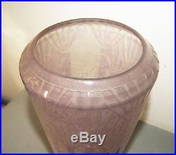 Superbe Vase Pate De Verre Art Deco Palmettes Schneider Le Verre Francais 1930