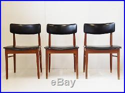 S. Chrobat Edition Sax Suite De 3 Chaises Scandinaves Danemark 1960 Vintage Teck