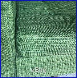 Salon canapé et deux fauteuils Florence Knoll 1960 en Tissu coton lainé vert