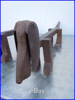 Schenck Edouard sculpture chien basset chenets cheminée fer forgé Andirons