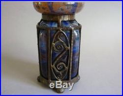 Schneider Vase En Verre Et Fer Forge Art Deco 1930