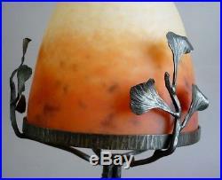 Schnierder Lampe Pate De Verre Et Fer Forge Au Ginko Biloba Art Deco 1930