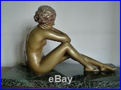 Sculpture Statue Art Deco Bronze Marbre Signee Cipriani Jeune Femme Nude
