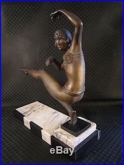 Sculpture art deco 1930 VAN DE VOORDE femme danseuse antique statue dancer woman