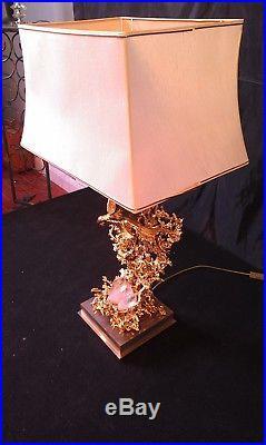 Sculpture en bronze doré à l'or fin lampe 1981 de Claude Victor Boeltz H 90 cm