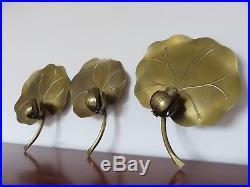 Serie De 3 Lampes Appliques Nenuphar En Laiton Dore Gold Leaf Annees 70
