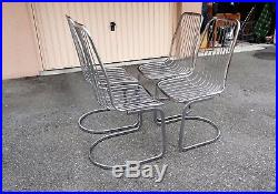 Série de 4 chaises fil de fer chromé circa 1970 Vintage Chairs