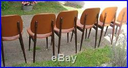 Serie de chaises vintage skai et bois Guariche années 60