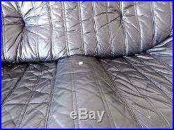 Set canapé fauteuil d'angle vintage en cuir noir style togo sofa