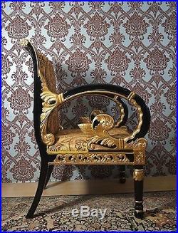 Spacieux Fauteuil Style Baroque Louis XV Doré À La Feuille D'or Tissu Italien