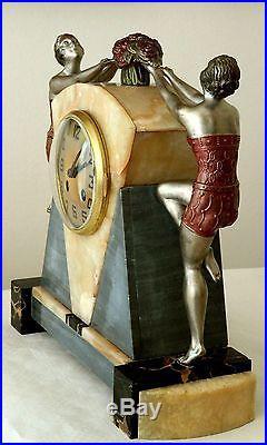 Splendide pendule d' époque ART DECO Danseuses de charleston patine polychrome
