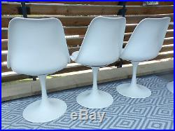 Suite 3 Chaise Pivotante + Table Pied Tulipe Vintage-blanc-design 70 1970