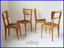 Suite De 4 Chaises 1950 En Chene & Paille 50's Vintage Rockabilly Annees 50