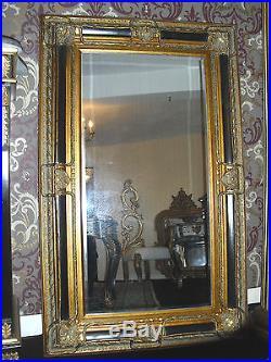 Superb Grand Miroir Cheminée 158x98cm Noir Et Doré Pour Palais Style Ancien