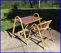 Superbe Bureau et chaise en rotin pour Enfant Vintage Années 60's école écolier