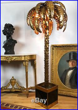 Superbe Lampadaire Année 70 Style Jansen En Forme De Palmier En Métal Doré