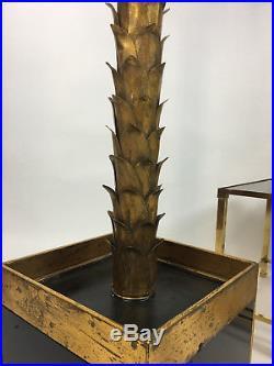 Superbe Lampadaire Des Années 70 Style Jansen Forme Palmier En Métal Doré
