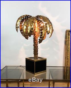 Superbe Lampe Année 70 Style Jansen En Forme De Palmier En Métal Doré
