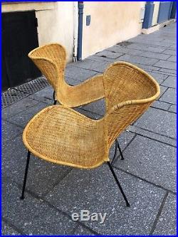 Superbe Paire De Fauteuils Osier Raoul Guys- Mategot- Design-1950-50