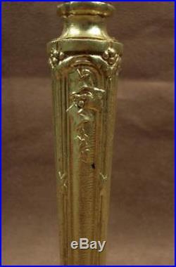 Superbe Pied De Lampe En Bronze Dore Art Nouveau Decor Feuillages