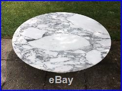 Superbe Table Basse Ronde Plateau marbre de CALACATTA Knoll Vintage An 70's