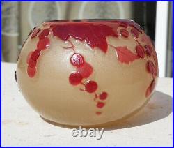 Superbe Vase Pate De Verre Art Nouveau Poli Au Feu Groseilles Emile Galle Nancy